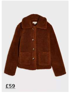 Brown Button Teddy Trucker Coat
