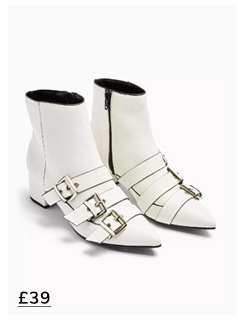 BOWY White Multi Buckle Boots