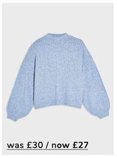 Blue Balloon Sleeve Knitted Jumper