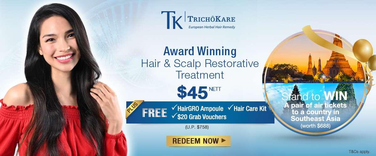 TrichoKare Award Winning Hair & Scalp Restorative Treatment at $45 nett - Redeem now