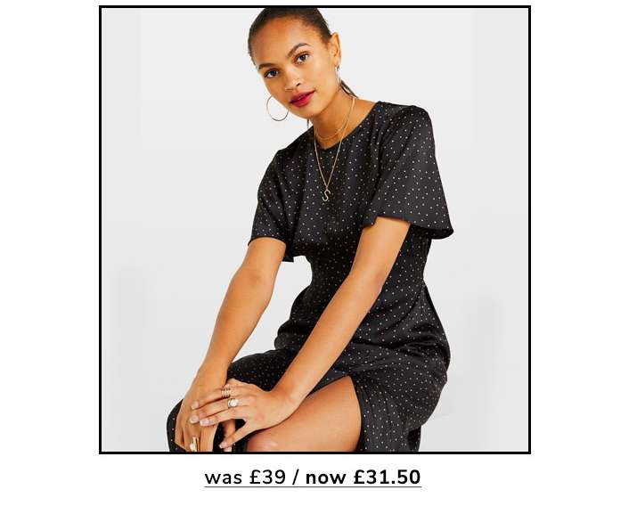 Black Mini Spot Midi Tea Dress
