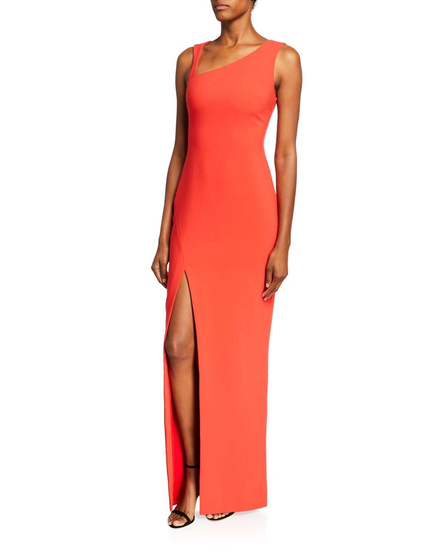 Samira Asymmetric-Neck Sleeveless Column Gown