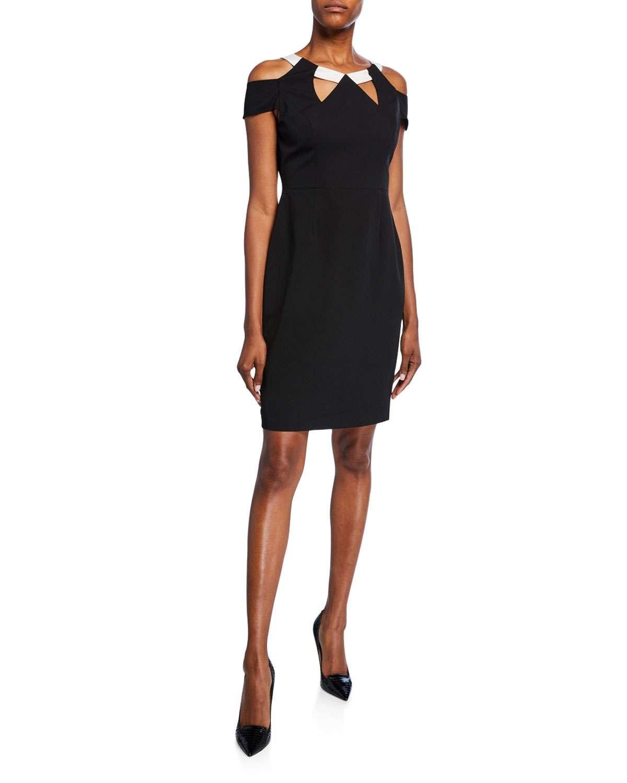 Jewel-Neck Cold-Shoulder Cutout Crepe Dress