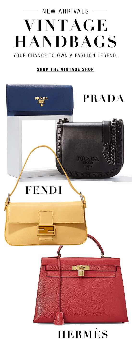 Vintage handbags from Fendi, Prada, and Hermes