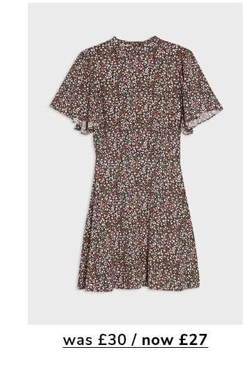 Pink Ditsy Angel Sleeve Mini Tea Dress