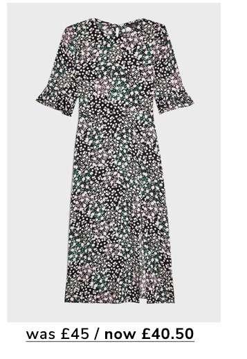 Nude Leopard Print Angel Sleeve Mini Tea Dress