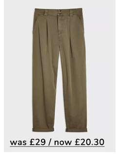 Khaki Peg Leg Trousers