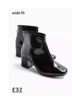Wide Fit BRIXTON Black Ankle Boots