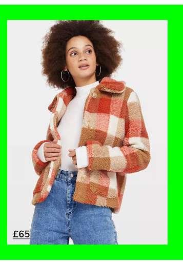Multi Colour Check Button Teddy Coat
