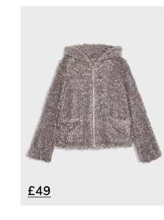 Grey Hooded Teddy Coat