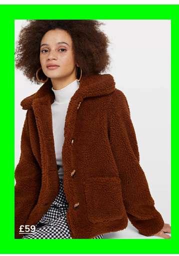 Brown Button Teddy Trucker Coat