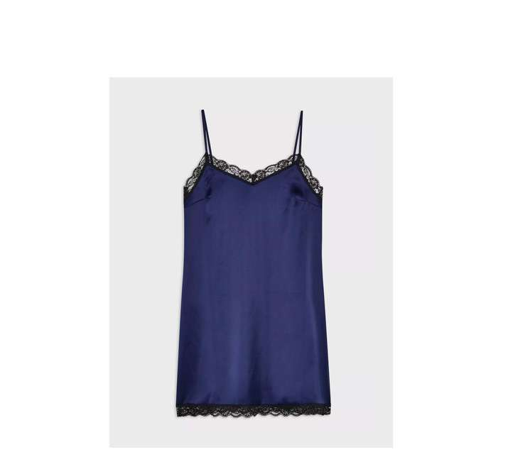 Navy Lace Trim Slip Dress