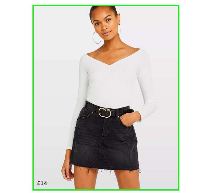 White Ruched Front Bardot Top
