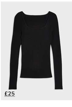 Black Ribbed Square Neck Knitted Top
