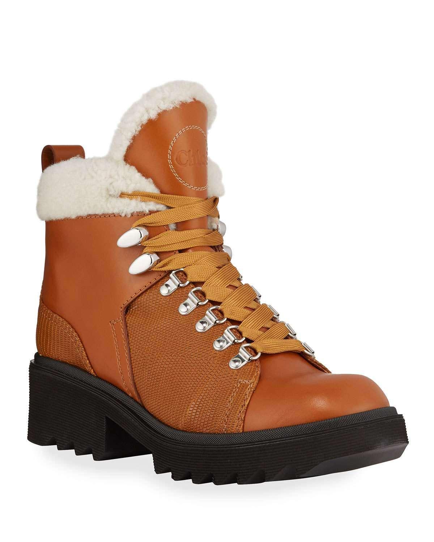 Bella Leather Fur-Lined Hiker Booties