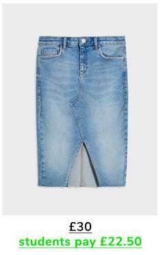 Blue Mid Wash Denim Midi Skirt