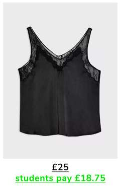 Black Satin Lace Trim Shell Top