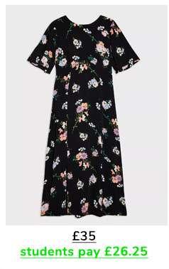 Black Posy Floral Print Midi Tea Dress
