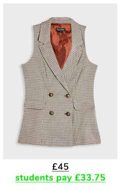Brown Check Print Waistcoat