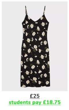 Black Daisy Printed Slip Dress