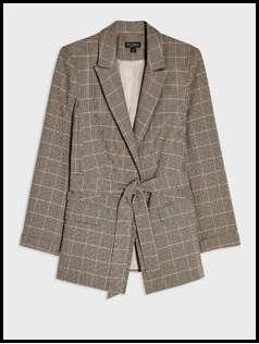 Camel Heritage Check Belted Blazer