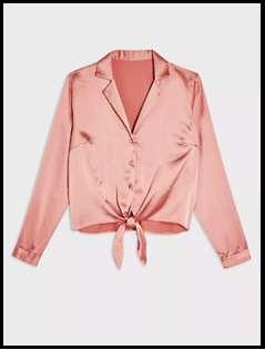 Pink Satin Tie Front Shirt