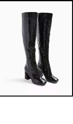 Black Oval Croc Flared Heel Over The Knee Boots