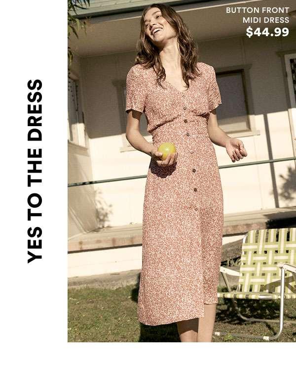Button Front Midi Dress | Shop Now