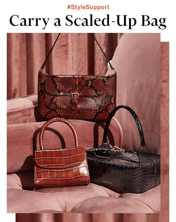 From sleek snake to cool croc: Move these luxe embossed carryalls to the top of your fall shopping list.