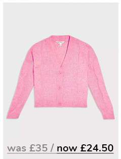 Pink Recycled Yarn Cable Knitted Cardigan