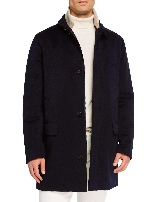 Men's Brookland Suede-Collar Cashmere Storm Coat